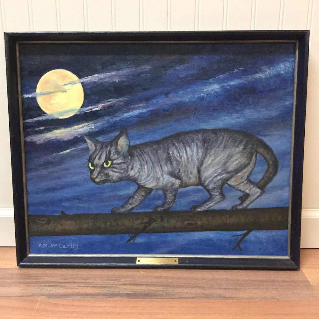 Night Stalker cat painting - cat on the prowl art - 1970s - NextStage Vintage