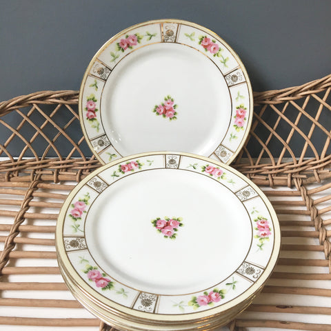 Nippon roses luncheon or salad plates - set of 6 - blue rising sun mark