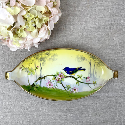Nippon Morimura blue bird and cherry blossoms celery dish - 1940s vintage - NextStage Vintage