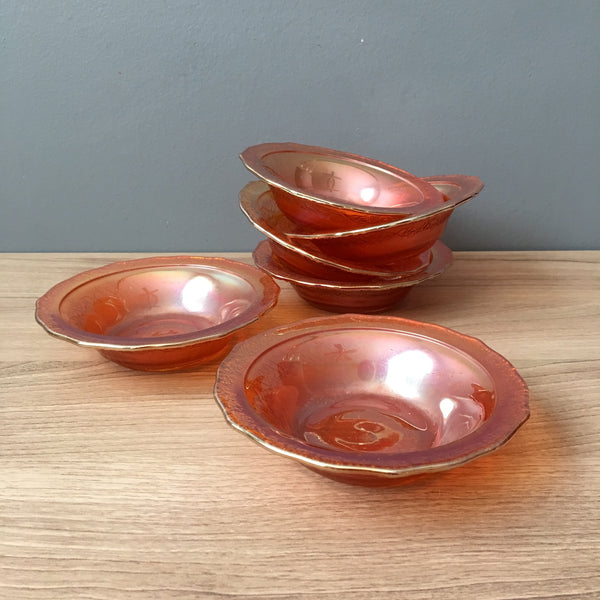 Federal Glass Normandie fruit bowls set of 6 - marigold carnival - 1930s vintage