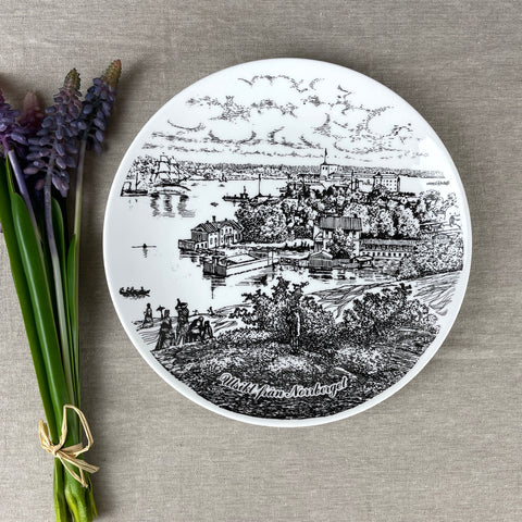 """View from Norrberget"" Norwegian souvenir plate - 1979 Gustavsberg pottery - NextStage Vintage"