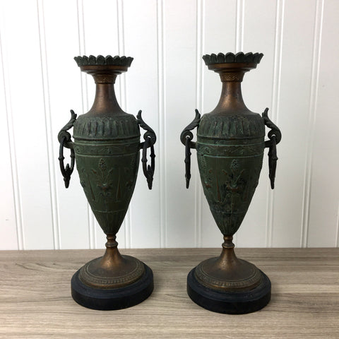 French Art Nouveau urn candleholders - 1920s vintage