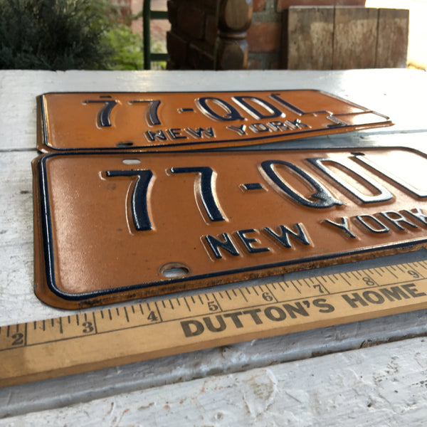 1980s New York license plates - a pair - number 77-QDL - NextStage Vintage