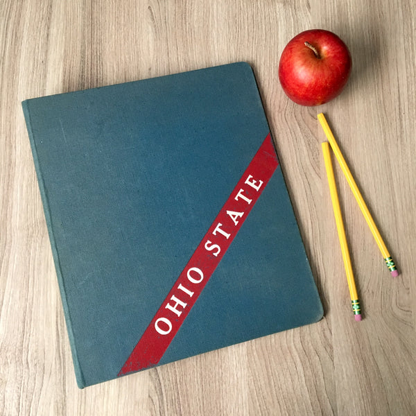 Ohio State vintage blue canvas binder - mid century notebook - NextStage Vintage