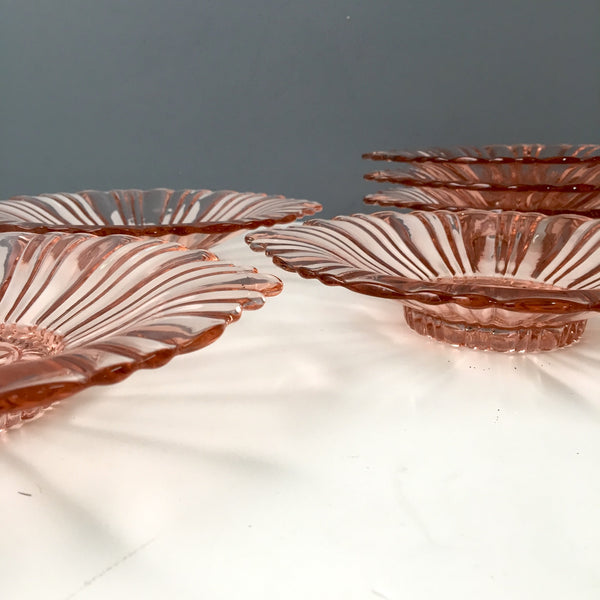 Pink Anchor Hocking Old Cafe bowls - set of 6 - 1930s vintage