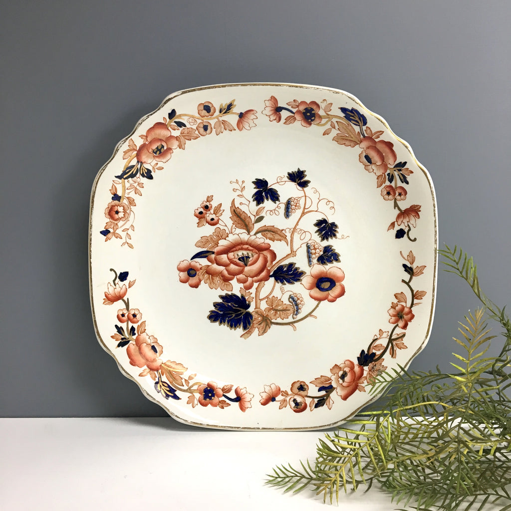 Crown Staffordshire Old Derby cake plate - vintage English china platter - NextStage Vintage