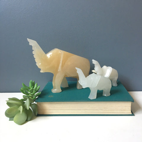 3 onyx elephants - parent and two babies - vintage stone family - NextStage Vintage