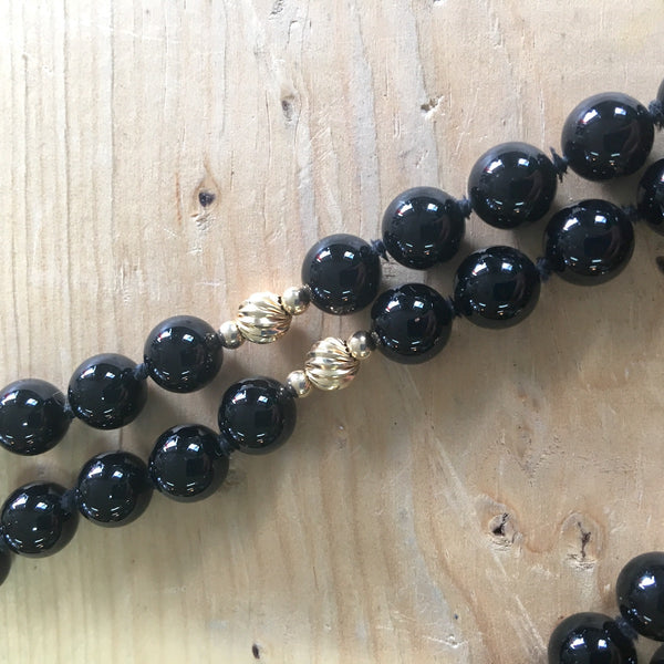 "Onyx and gold beaded necklace - 32"" - NextStage Vintage"