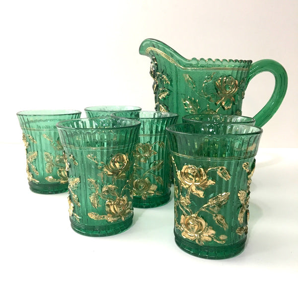 Imperial Open Rose glass pitcher and 6 tumblers - vintage 1960s beverage set - romantic style - NextStage Vintage