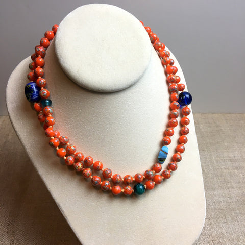 Orange glass bead necklace with sterling clasp - 1990s vintage art glass necklace