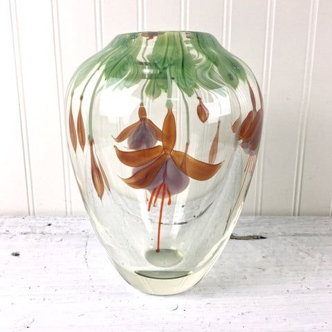 "Orient and Flume fuchsia vase - signed art glass - 8.5"" tall - NextStage Vintage"