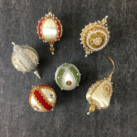 Ornately decorated satin Christmas ornaments - set of 6 - 1960s vintage