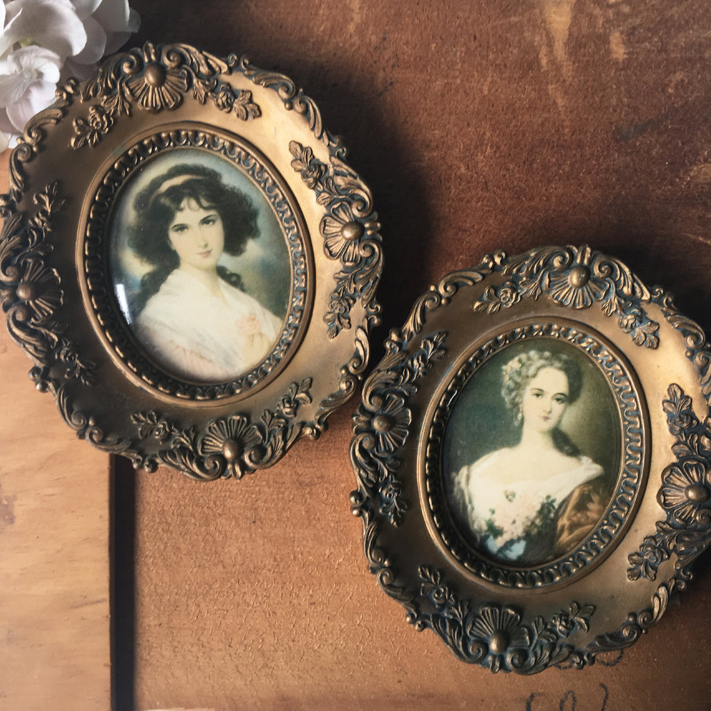 Cameo Creations oval framed ladies - a pair - 1960s gold rococo accent art - NextStage Vintage