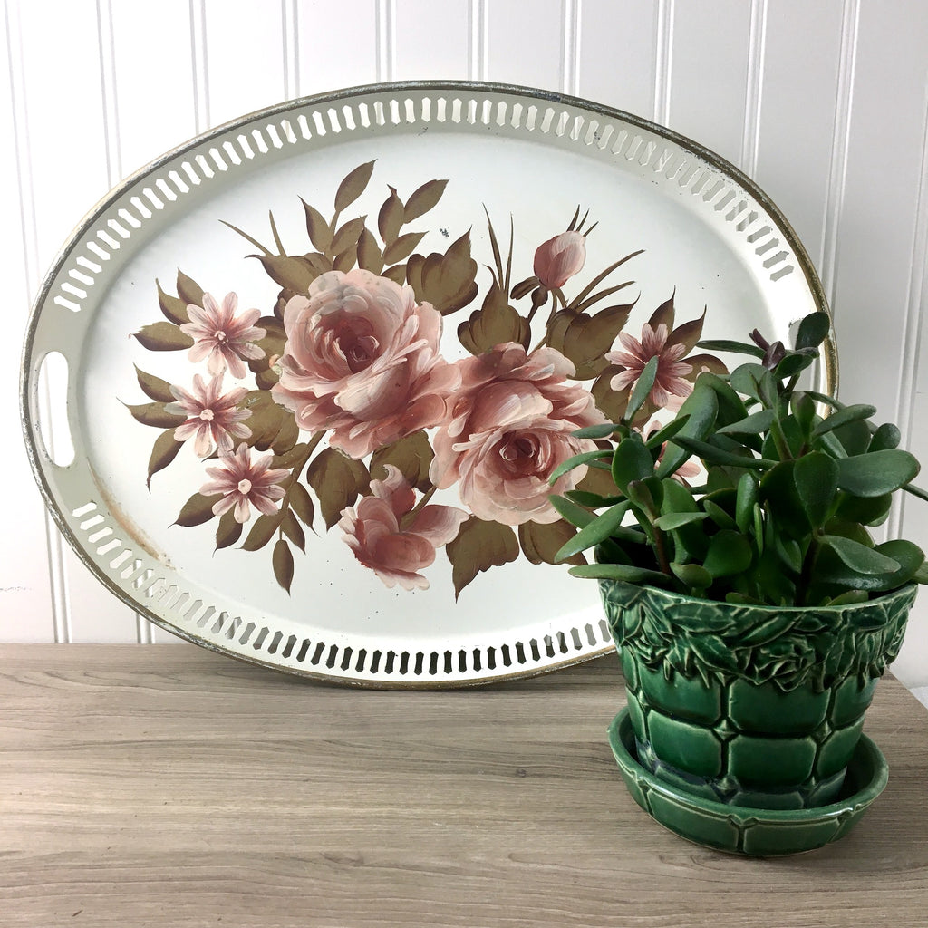 Tole painted pink and tan oval metal tray - shabby cottage style - 1950s vintage - NextStage Vintage