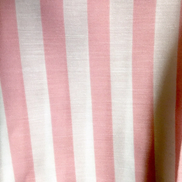 Cotton print fabric - 3.25 yds - pink green and blue florals and stripes - 1980s vintage - NextStage Vintage