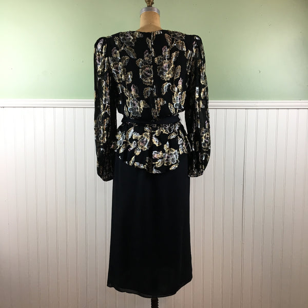 1980s black and metallic cocktail dress with peplum - Patra - size 9/10