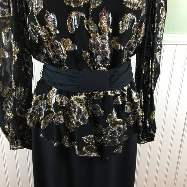 1980s black and metallic cocktail dress with peplum - Patra - size 9/10 - NextStage Vintage
