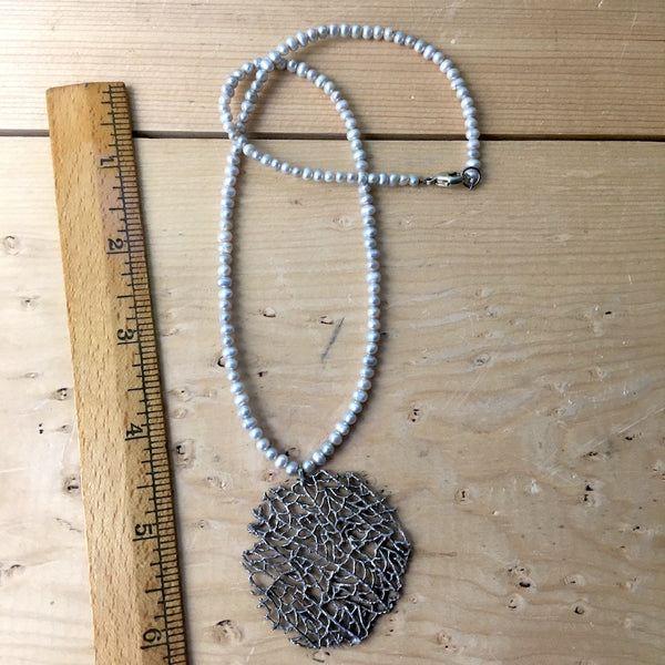 Freshwater pearl necklace with fan coral silver pendant - NextStage Vintage
