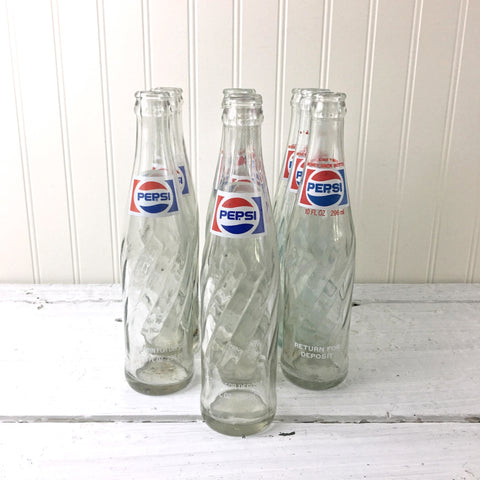 Pepsi spiral returnable glass bottles - set of ten 10 oz. bottles - 1970s vintage