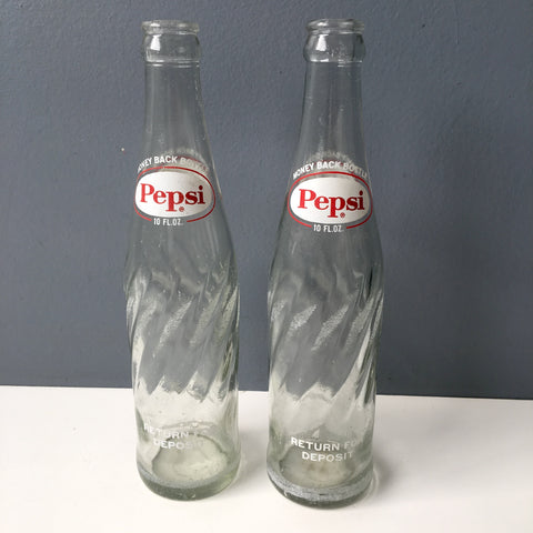 Pepsi returnable glass bottles - a pair of 10 oz. spiral bottles - 1970s vintage