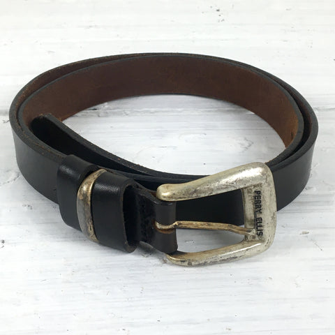 Perry Ellis brown leather belt - size large - vintage accessory