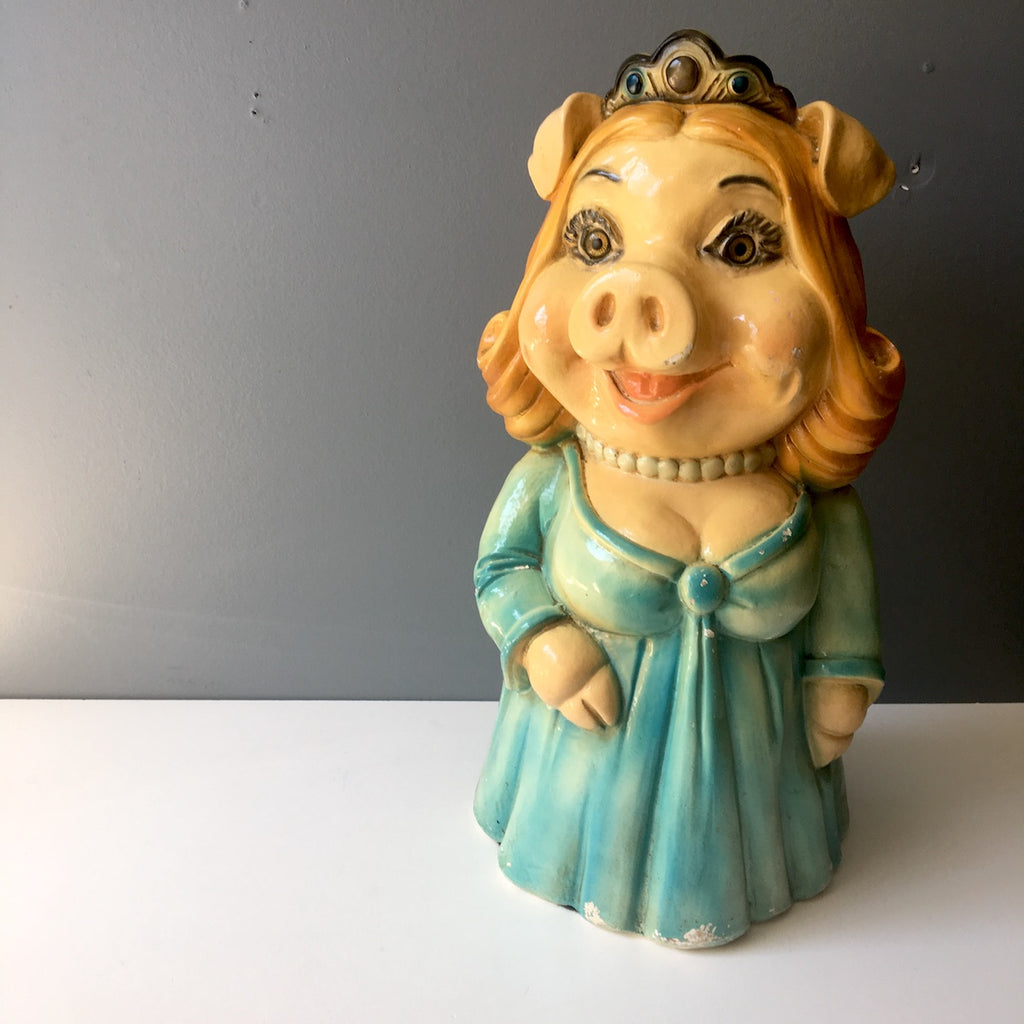 Chalkware pig bank with glass eyes- vintage 1970s piggy diva - NextStage Vintage