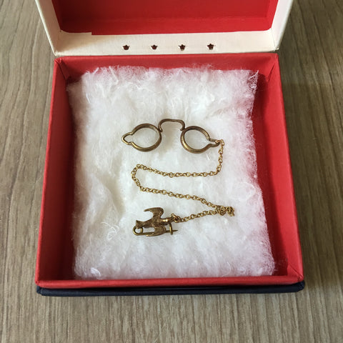 Doll-sized pince-nez with a swallow pin - vintage doll accessory