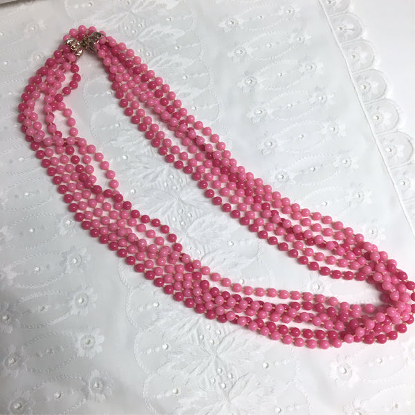 Pink plastic long beaded necklace - 1960s vintage - NextStage Vintage