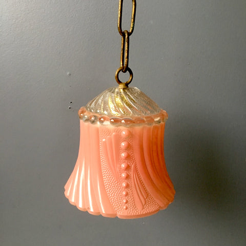 Pink glass pendant lamp shade and chain - 1940s vintage