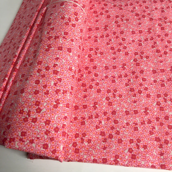 "Pink on pink floral calico fabric - 1.5 yards - 54"" wide - NextStage Vintage"