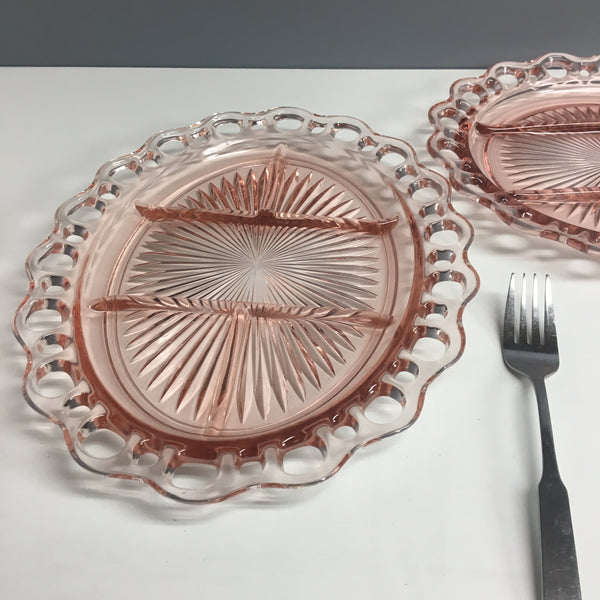 Anchor Hocking pink lace edge relish dishes - set of 2 - vintage depression glass - NextStage Vintage