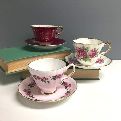 Bone china tea cup trio - Salisbury, Colclough, Royal Sealy - 1960s vintage - NextStage Vintage