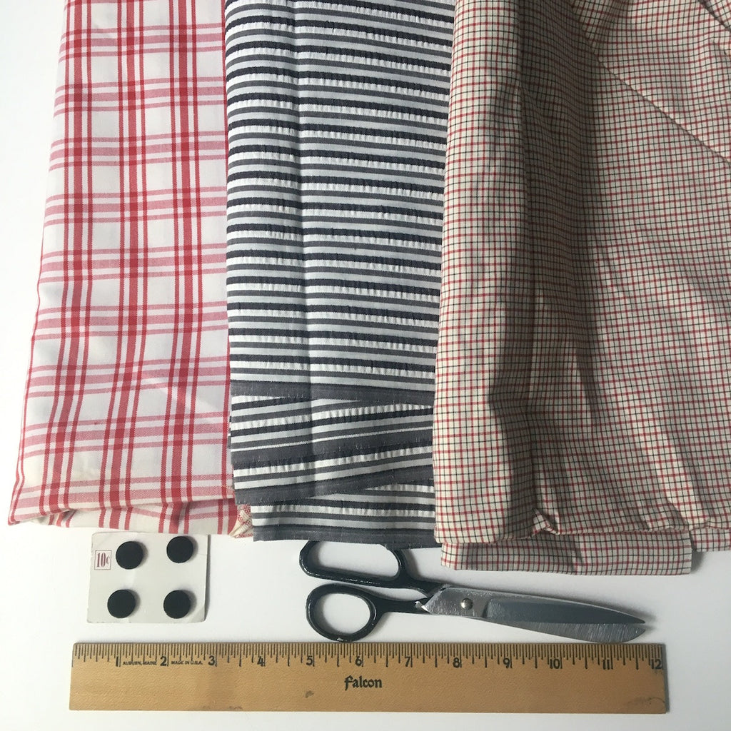 Plaid and seersucker fabric mix - 5.75 yds - vintage 1960s and 1970s - NextStage Vintage