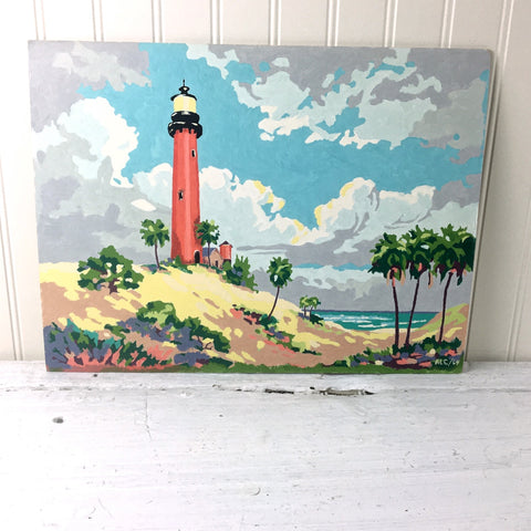 """Jupiter Lighthouse"" Craftint paint-by-number paintings - 1950s vintage"