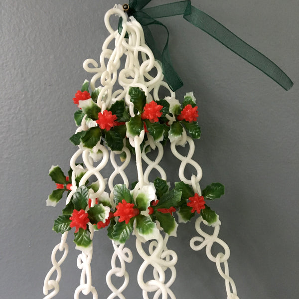 Plastic Christmas bells and holly - vintage 1960s holiday decor