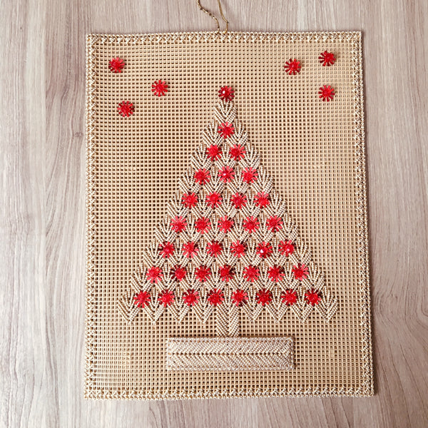 Plastic canvas stitched Christmas tree - vintage wall decor