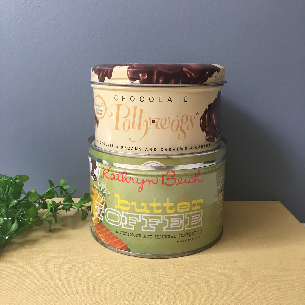 Two candy tins - Kathryn Beich toffee tin - Mrs. Lelands Chocolate Pollywogs - 1960s packaging - NextStage Vintage