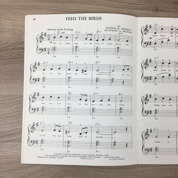 Walt Disney's Mary Poppins 3-Chords + Easy Piano book - Wonderland Music Co. - 1963