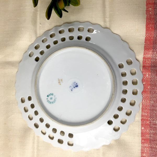 Carl Teilsch poppy plate - blue mark green Germany - late 1800s - NextStage Vintage