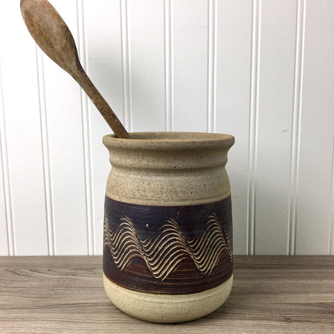 1980s earthenware pottery crock - bohemian style studio pottery