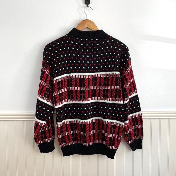 American Pride red white and black plaid intarsia sweater - size medium - NextStage Vintage