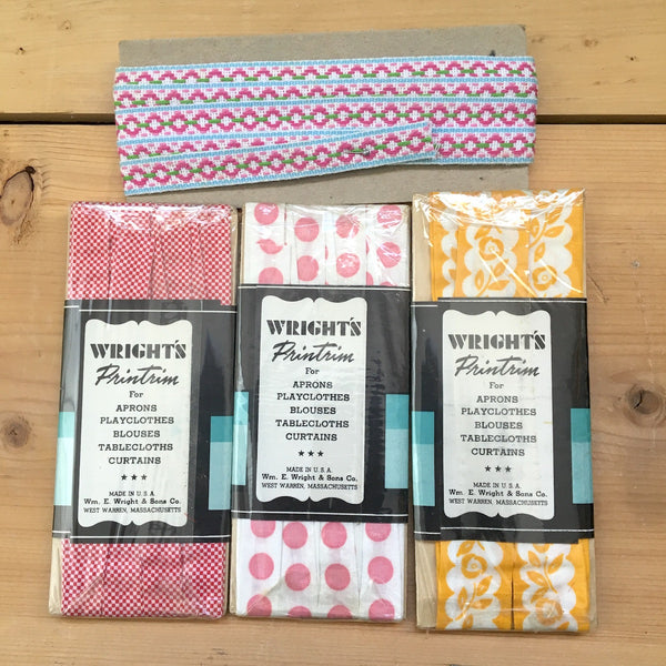 Wright's Printrim printed trim - dots, flowers, checked vintage trim packages - sewing 1950s - NextStage Vintage