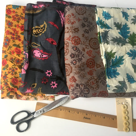 Floral print vintage cotton fabric collection - 8.25 yards of mixed prints - mostly 1960s - NextStage Vintage