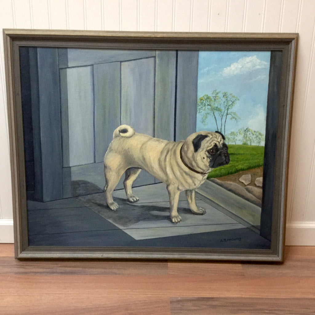 Pug waiting in the doorway painting - vintage portrait of a dog - 1970s - NextStage Vintage