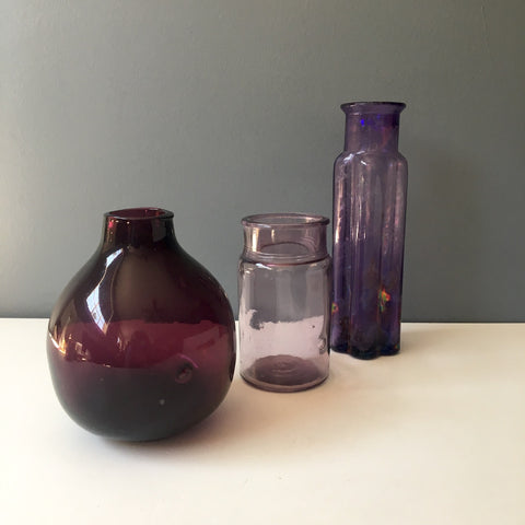 Vintage purple bottles - group of 3 - NextStage Vintage