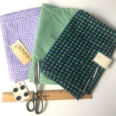 vintage purple green calico mix