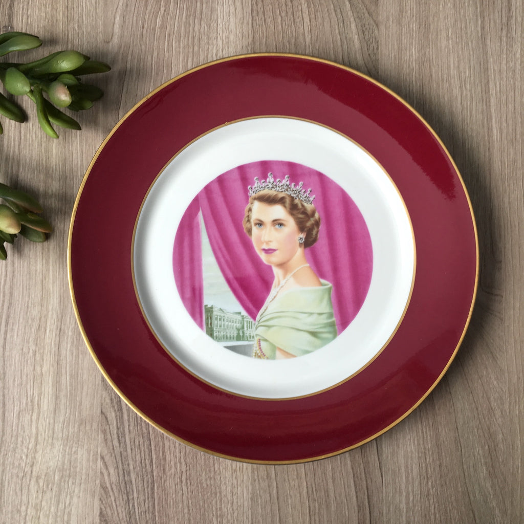 Queen Elizabeth II coronation commemorative plate - 1950s vintage
