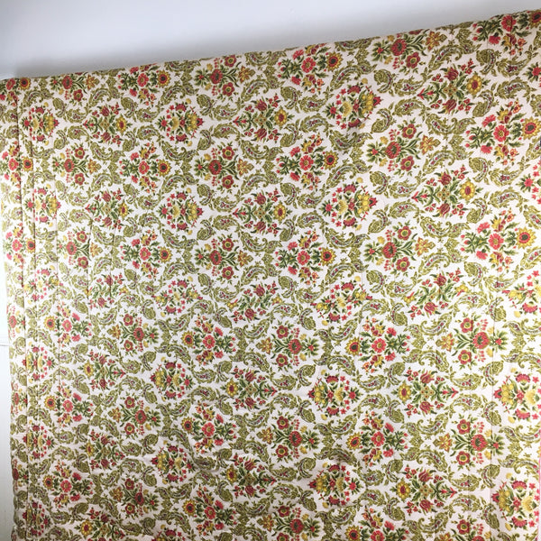 1960s floral comforter by Mr. K - vintage twin-sized bedcover