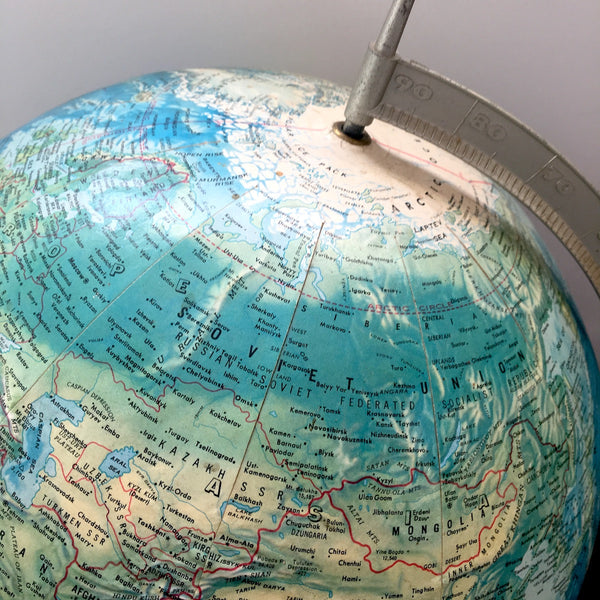 Rand McNally World Portrait Globe - 3D topography - metal stand - 1960s - NextStage Vintage