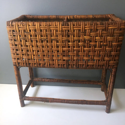 Brown rattan planter box - rectangular floor stand - vintage 1960s - NextStage Vintage